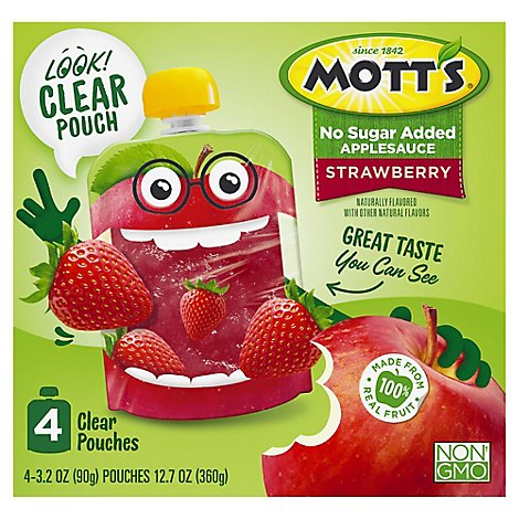 Motts No Sugar Added Strawberry Applesauce clear pouches - 4-3.2 Oz