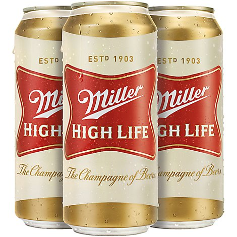 Miller High Life Beer Lager 4.6% ABV Cans - 4 - 16 Fl. Oz.