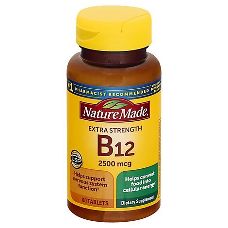 Nature Made Dietary Supplement Tablets Vitamin B-12 2500 mcg - 60 Count