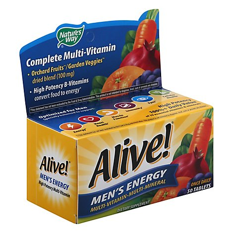 Natures Way Alive! Multi-Vitamin Multi-Mineral Tablets Mens Energy - 50 Count