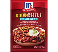 McCormick Seasoning Mix Chili Mild 30% Less Sodium - 1.25 Oz