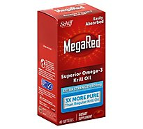 MegaRed Dietary Supplement Omega 3 Krill Oil Extra Strength 500mg Softgels - 45 Count