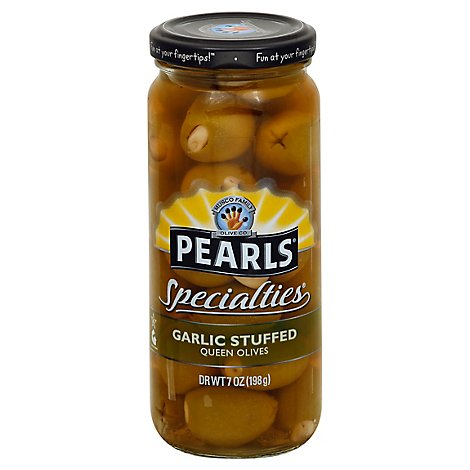 Musco Family Olive Co. Pearls Specialties Olives Queen Stuffed Garlic - 7 Oz