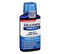 Mucinex Fast-Max Liquid Medicine Cold Flu & Sore Throat Maximum Strength - 6 Fl. Oz.