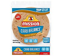 Mission Carb Balance Tortillas Whole Wheat Super Soft Fajita Bag 8 Count - 8 Oz