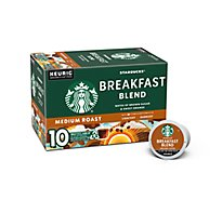 Starbucks Coffee K-Cup Pods Medium Roast Breakfast Blend - 10-0.44 Oz
