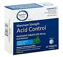 Signature Care Acid Reducer 150 Ranitidine 150mg Maximum Strength Cool Mint Tablet - 24 Count