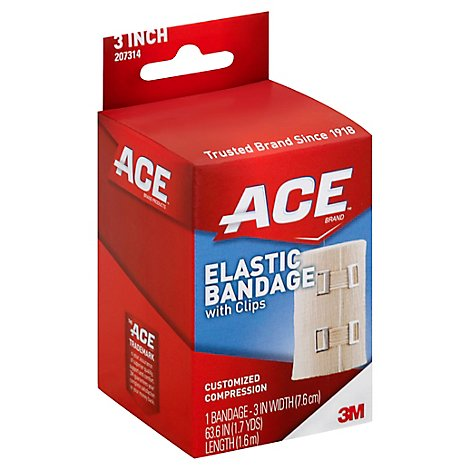 ACE Elastic Bandage With Clips 3 Inch 1.8 Yards