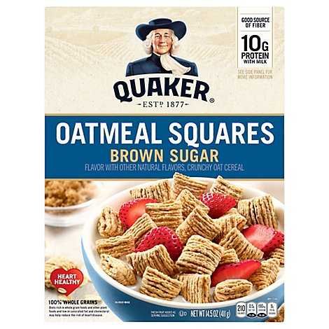 Quaker Cereal Oatmeal Squares With A Hint Of Brown Sugar - 14.5 Oz