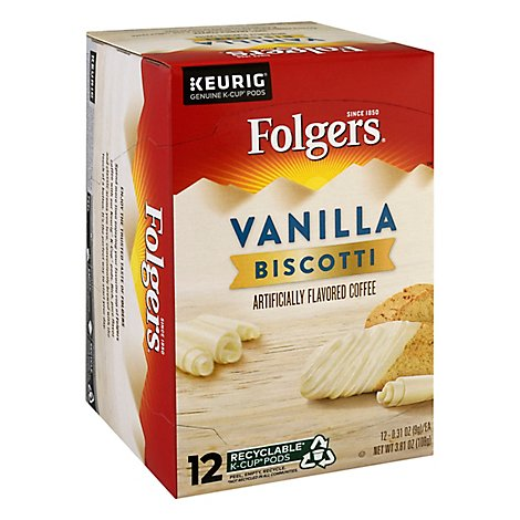 Folgers Gourmet Selections Coffee K-Cup Pods Vanilla Biscotti - 12-0.31 Oz