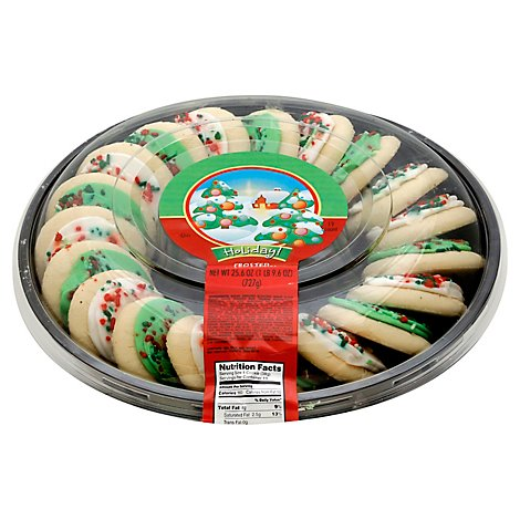 Bakery Cookies Tray Sugar Green Frosted Holiday - Each