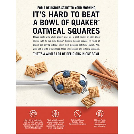 Quaker Cereal Oatmeal Squares With A Hint Of Cinnamon - 14.5 Oz