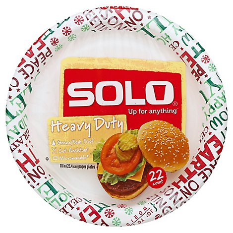SOLO Plates Paper Heavy Duty 10 Inch Bag - 22 Count