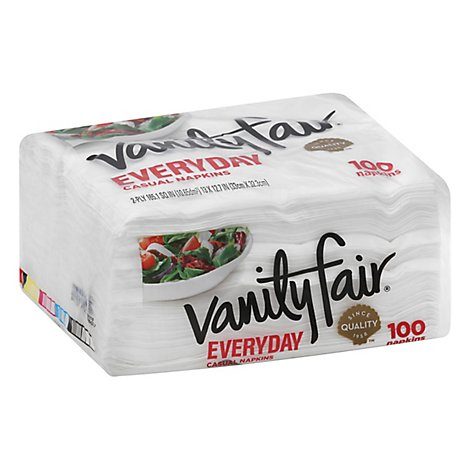 Vanity Fair Everyday Casual Napkins White Paper 2 Ply - 100 Count