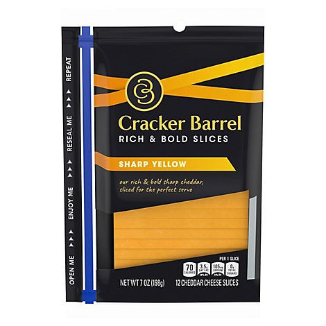 Cracker Barrel Cheese Slices Sharp Cheddar Cheese - 7 Oz