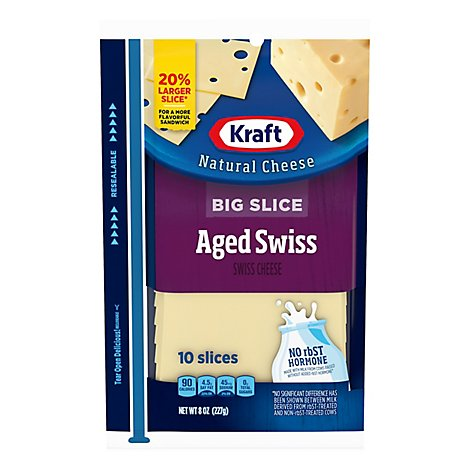 Kraft Natural Cheese Big Slice Aged Swiss 10 Slices - 8 Oz
