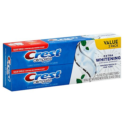 Crest Complete Toothpaste Fluoride Extra Whitening With Tartar Protection Clean Mint - 2-6.2 Oz