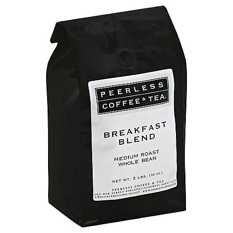 Peerless Coffee & Tea Coffee Organic Whole Bean Medium Roast Breakfast Blend - 32 Oz