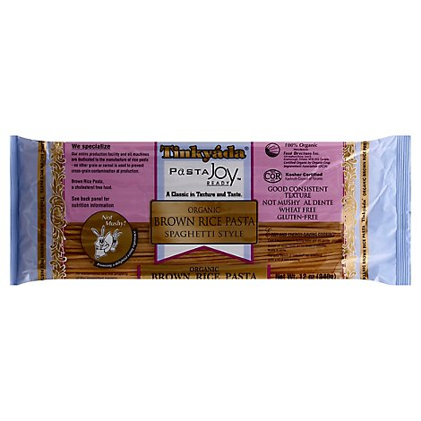 Tinkyada Pasta Joy Ready Brown Rice Pasta Organic Spaghetti Style Bag - 12 Oz