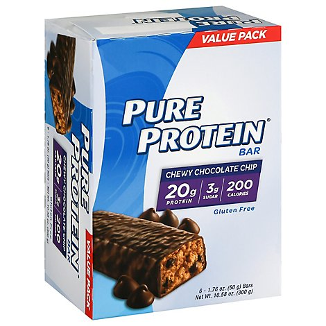 Pure Protein Bar Gluten Free Chewy Chocolate Chip - 6-1.76 Oz