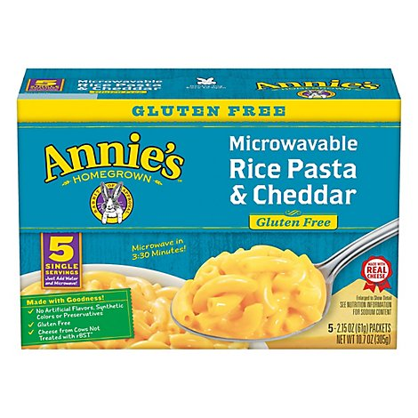 Annies Homegrown Mac & Cheese Microwavable Gluten Free with Real Aged Cheddar Box - 5-2.15 Oz