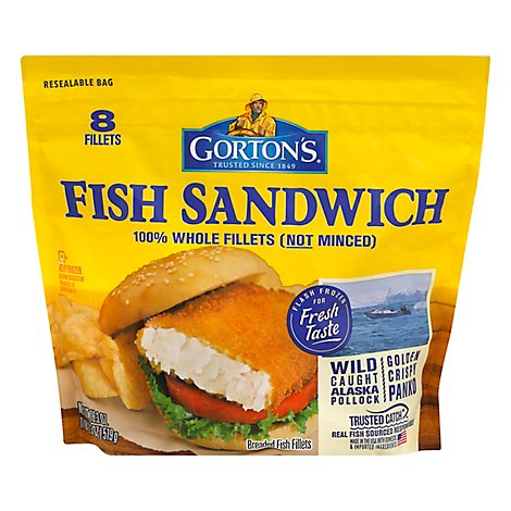Gortons Fish Fillets 100% Real Wild Caught Fish Sandwich 8 Count - 18.3 Oz