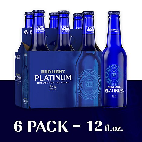 Bud Light Beer Platinum Bottles - 6-12 Fl. Oz.