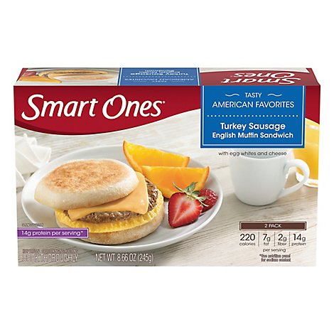 Smart Ones Tasty American Favorites Meal Turkey Sausage English Muffin Sandwich - 8.66 Oz
