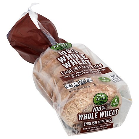 Open Nature English Muffins 100% Whole Wheat - 12 Oz