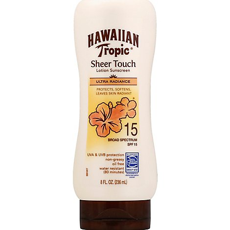 Hawaiian Tropic Sheer Touch Lotion Sunscreen Ultra Radiance Broad Spectrum SPF 15 - 8 Fl. Oz.