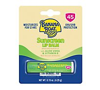 Banana Boat Sunscreen Lip Balm Aloe Vera & Vitamin E Broad Spectrum SPF 45 - 0.15 Oz