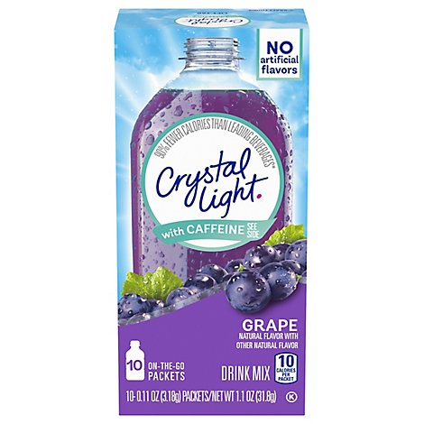 Crystal Light Drink Mix On-The-Go Packets with Caffeine Grape - 10-0.11 Oz