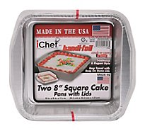 Handi-Foil iChef Cook-N-Carry & Serve Cake Pans with Lids Square 8 x 8 - 2 Count