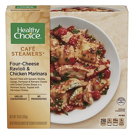 Healthy Choice Cafe Steamers Meals Complete Ricotta & Spinach Ravioli & Chicken Marinara - 10 Oz