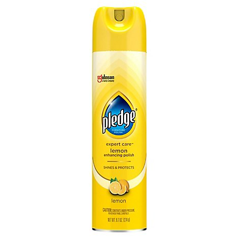 Pledge Lemon Enhancing Polish Spray-Remove Dust & Fingerprints. Protective Coating (1 ct) 9.7 oz