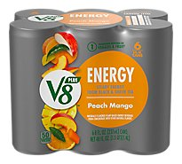 V8 V-Fusion +Energy Vegetable & Fruit Juice Peach Mango - 6-8 Fl. Oz.