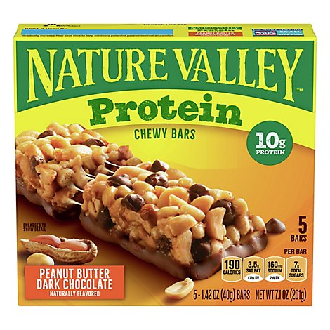 Nature Valley Protein Bars Chewy Peanut Butter Dark Chocolate - 5-1.42 Oz