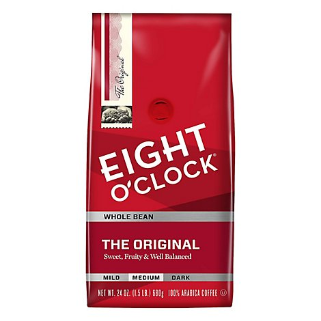 Eight O Clock Coffee Whole Bean Medium Roast The Original - 24 Oz