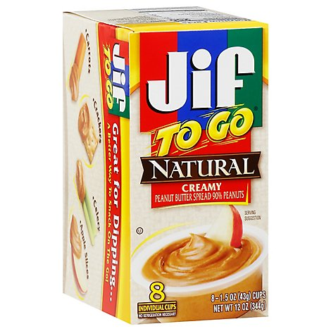Jif To Go Natural Peanut Butter Creamy Low Sodium - 8-1.5 Oz