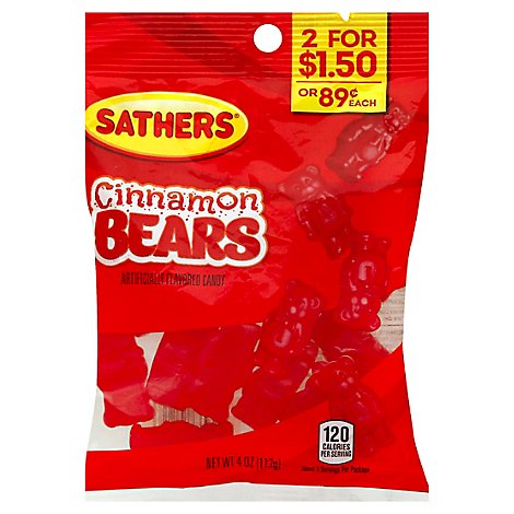 Sathers Cinnamon Bears Candy Naturally & Artificially Flavored - 4 Oz