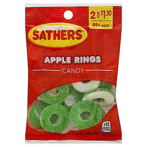 Sathers Gummallos Apple Ring Candy Naturally & Artificially Flavored - 2.75 Oz