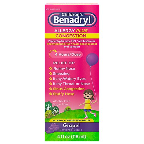 Benadryl-D Childrens Allergy & Sinus Grape Flavored Liquid - 4 Fl. Oz.