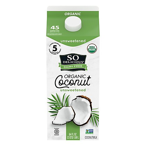 So Delicious Organic Coconut Milk Original Unsweetened Dairy Free - 64 Fl. Oz.