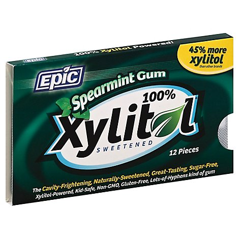 Epic Gum 100% Xylitol Sweetened Spearmint - 12 Count