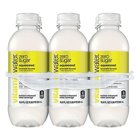vitaminwater Zero Water Beverage Nutrient Enhanced Squeezed Lemonade - 6-16.9 Fl. Oz.