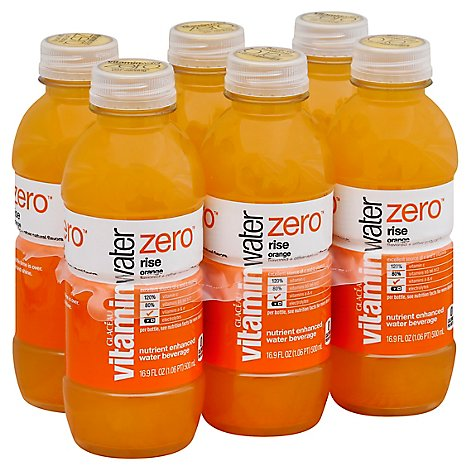 vitaminwater Zero Water Beverage Nutrient Enhanced Rise Orange - 6-16.9 Fl. Oz.