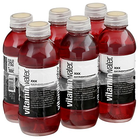 vitaminwater Water Beverage Nutrient Enhanced XXX Acai Blueberry Pomegranate - 6-16.9 Fl. Oz.