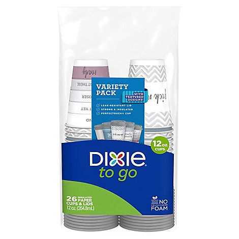 Dixie Paper Cups & Lid To Go Printed 12 Ounce - 26 Count