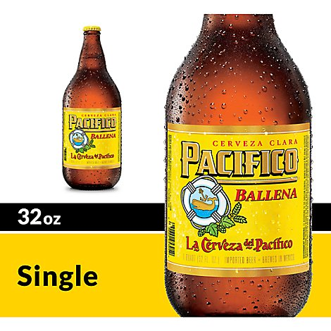 Pacifico Clara Beer Mexican Lager 4.4% ABV Bottle - 32 Fl. Oz.