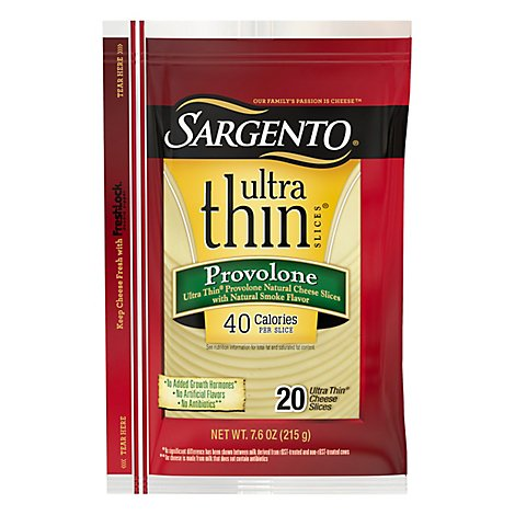 Sargento Cheese Slices Ultra Thin Provolone 20 Count - 7.6 Oz